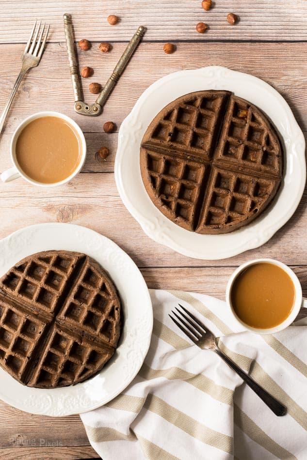 Gluten Free Chocolate Hazelnut Waffles recipe - www.platingpixels.com