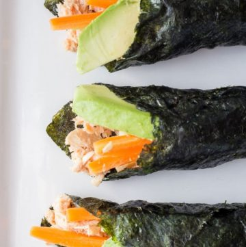 Paleo Tuna Salad Nori Wraps on a white plate