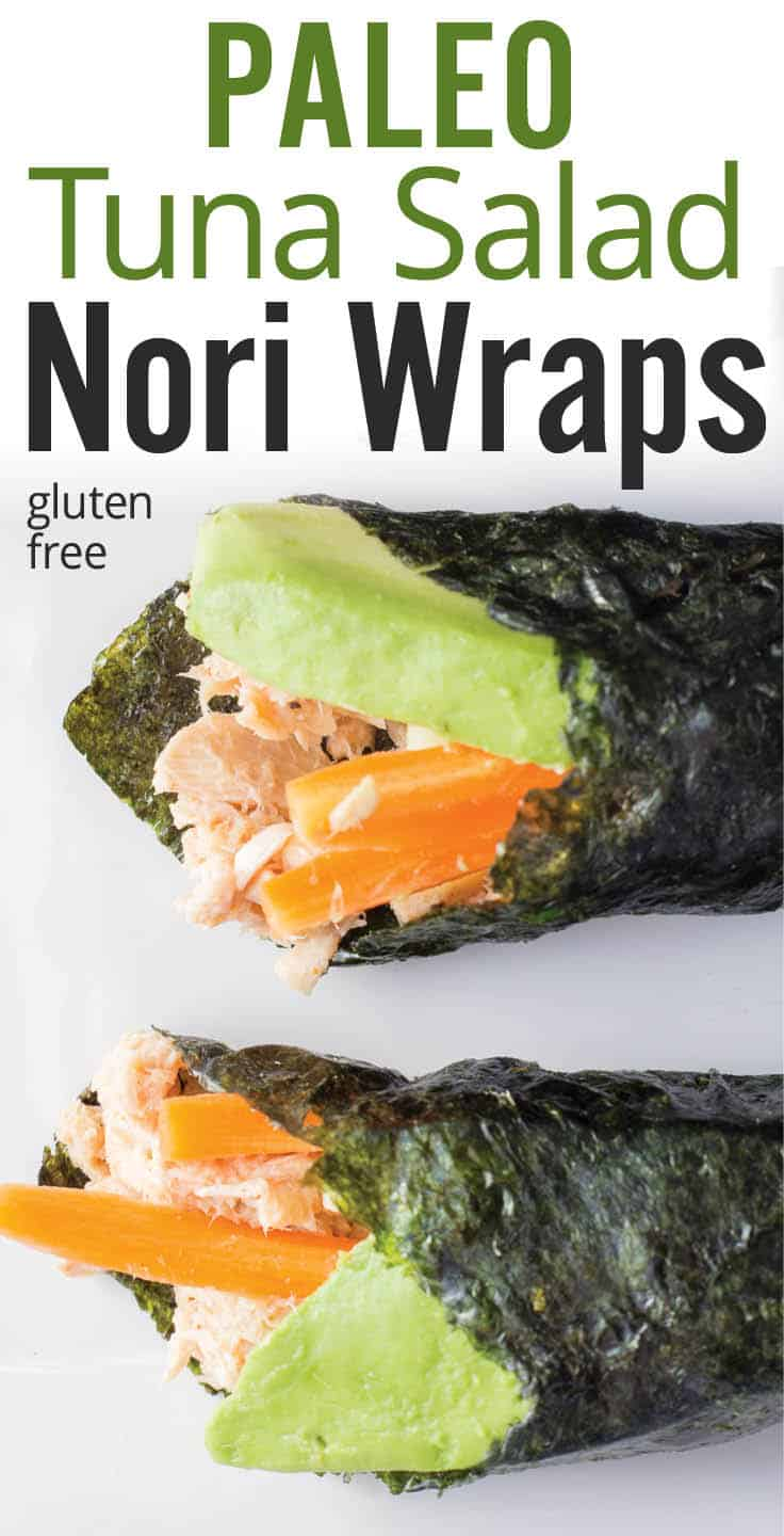 Quick and healthy gluten free paleo tuna salad nori wraps. Albacore tuna, coconut milk, olive oil, lemon juice, avocado, carrot and cucumber on nori roll for a gluten free healthy snack or meal prep. #sushiroll #tunawrap #noriroll