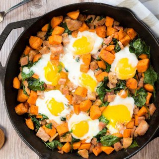 Spinach and Ham Sweet Potato Hash