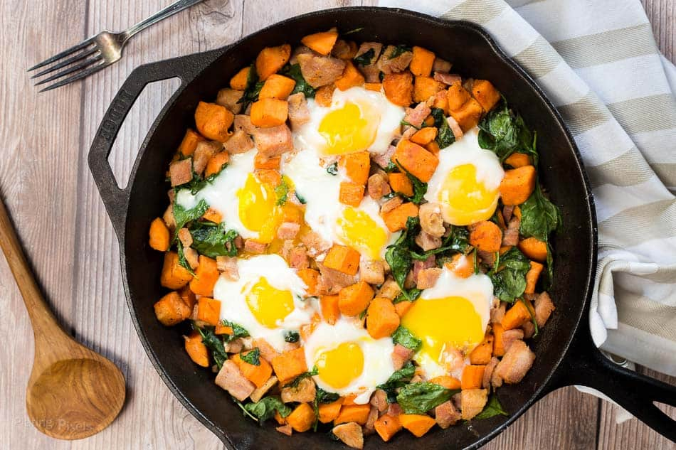Spinach And Ham Sweet Potato Hash Plating Pixels