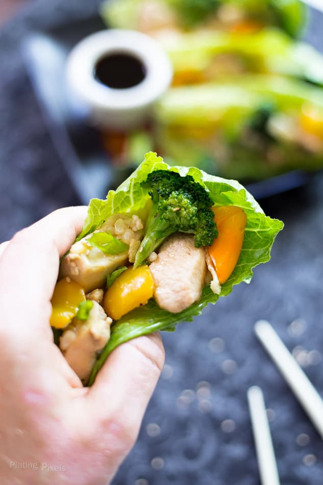 Chicken Stir Fry Lettuce Wraps recipe - www.platingpixels.com