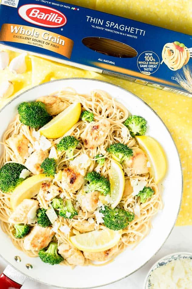 Lightened Up Lemon Broccoli Chicken Pasta - www.platingpixels.com