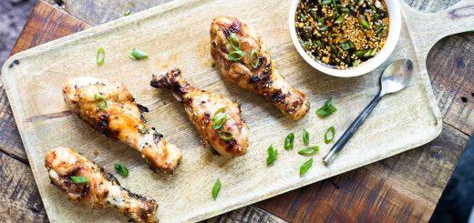 Grilled Ginger Sesame Glazed Chicken Drumsticks recipe - www.platingpixels.com