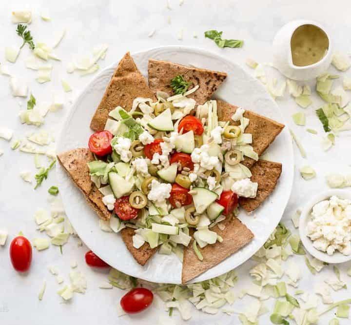 Greek Salad Pita Nachos recipe - www.platingpixels.com