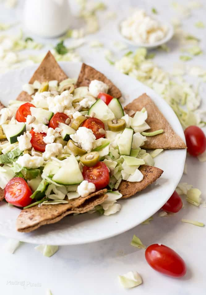Greek Salad Pita Nachos recipe - www.platingpixels.com