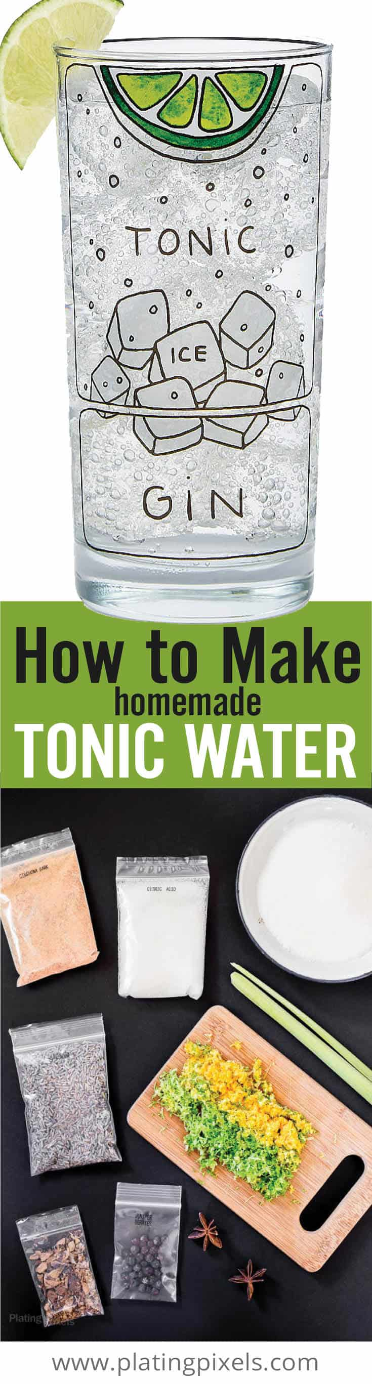 Learn how to make tonic water. Within this post, you\'ll learn everything you need to know to make tonic water at home. From which ingredients to use, how to get the best flavors (including unique flavor add-ins), how to store, how to make simple syrup, and how to make a gin and tonic...its all here. #tonicwater #ginandtonic #cocktail