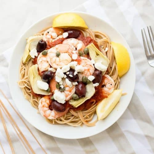 Mediterranean Shrimp Pasta with Whole Wheat Spaghetti