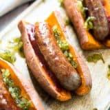 Sweet Potato Sausage Dogs recipe (Gluten Free) - www.platingpixels.com