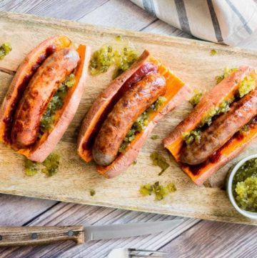 Sweet Potato Sausage Dogs recipe (Gluten Free) - www.platingpixels.com