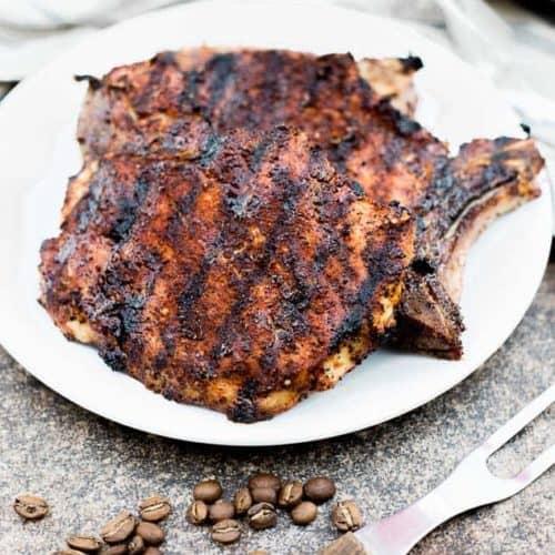 Cowboy Coffee Rub Grilled Pork Chops