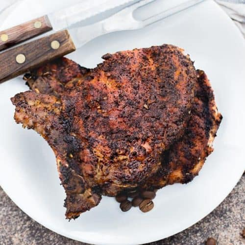 Cowboy Coffee Rub Grilled Pork Chops recipe - www.platingpixels.com