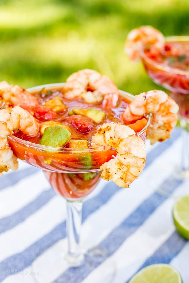 Mexican Shrimp Cocktail recipe served in a glass with grilled shrimp