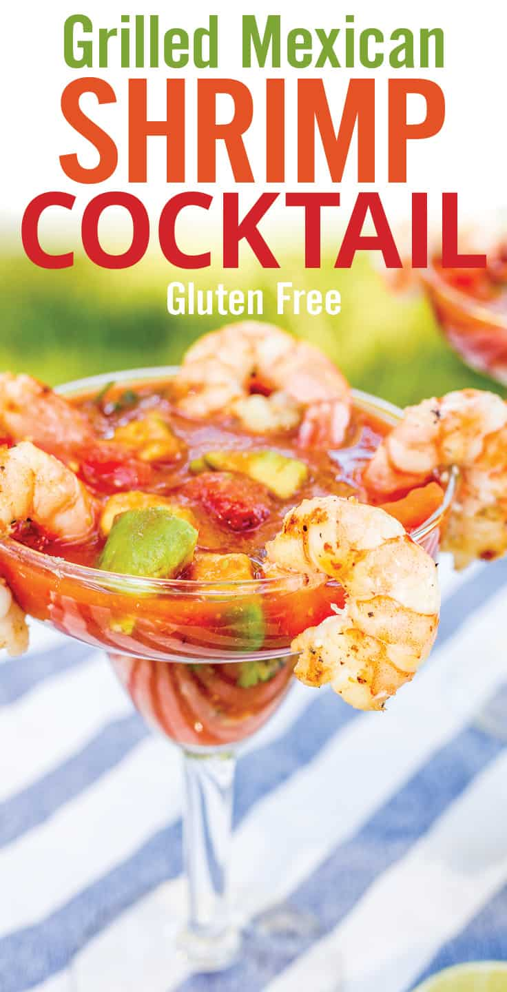 This Mexican Shrimp Cocktail recipe is ready in less than 20 minutes. With an easy homemade shrimp cocktail sauce that includes vegetable juice, lime juice, ketchup, horseradish, hot sauce, garlic, cilantro, onion, and avocado. Paired with grilled shrimp for an easy seafood appetizer. #shrimpcocktail #grilledshrimp #seafood #shrimp