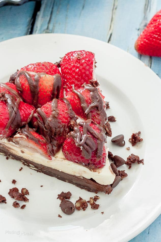 Slice of Strawberry Nutella No Bake Cheesecake on plate