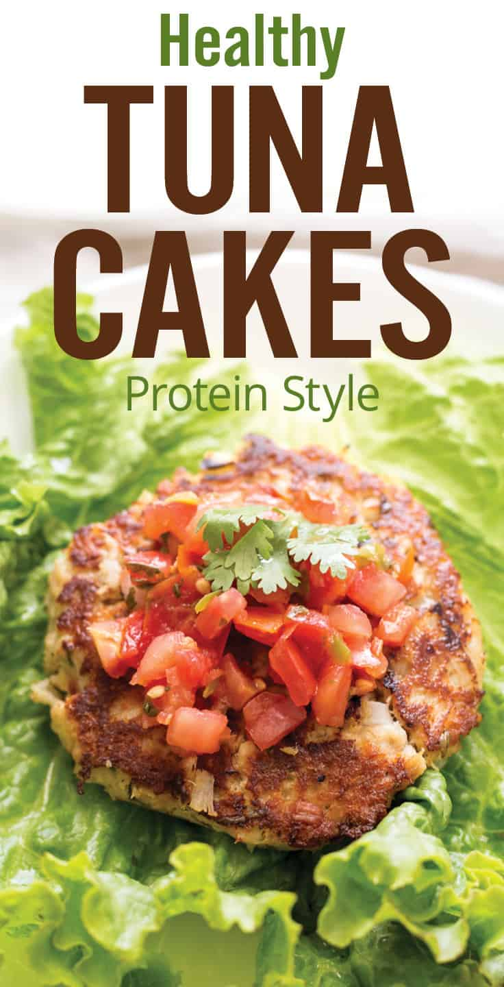 Healthy Tuna Cakes (protein style). Learn how to make easy and healthy tuna cakes in under 20 minutes. Albacore canned tuna flavored with cilantro, lime, jalapeño, onion and pico de gallo salsa; served protein style over lettuce for a healthy back to school meal. #tunacakes #tunapatties