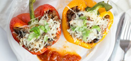 Pizza Stuffed Bell Peppers recipe - www.platingpixels.com