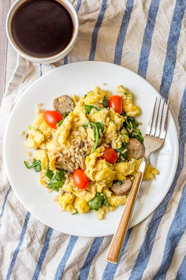 Spinach, Sausage, Rice and Egg Scramble recipe - www.platingpixels.com