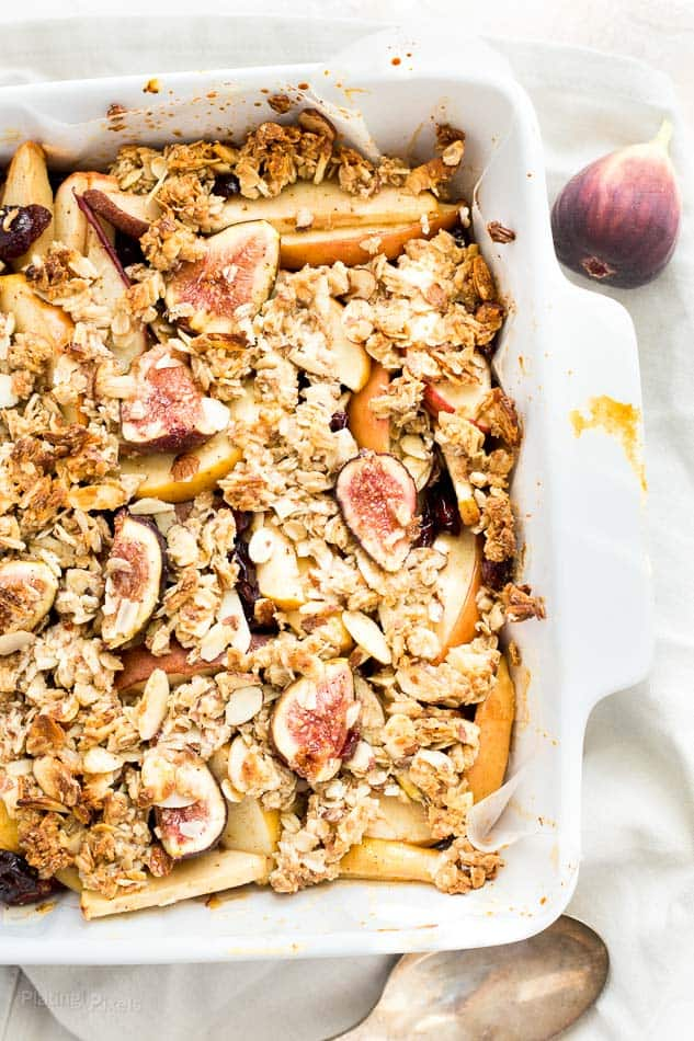 Fall Harvest Fig Pear and Apple Crisp recipe - www.platingpixels.com