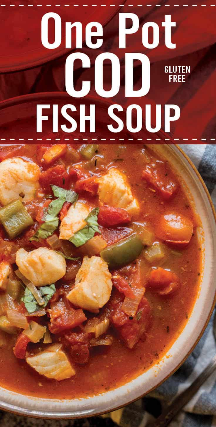 Quick and healthy One Pot Cod Fish Soup is perfect for cold weather. Winter soup recipe with tomato, onion, garlic, bell pepper and cod whitefish. #platingpixels #fish #soup #Italian
