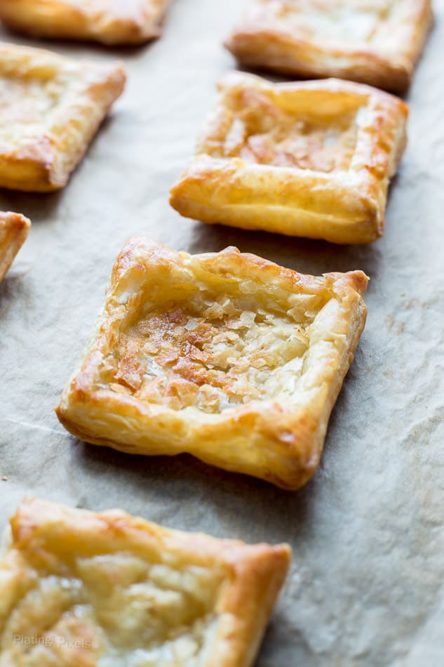 Puff Pastry Squares on a baking sheet ready for filling