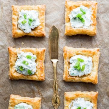 Creamy Blue Cheese Puff Pastry Squares on a baking sheet
