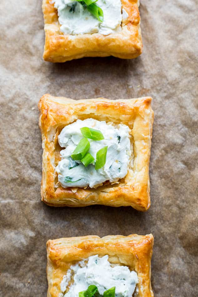 A close up of Blue Cheese Puff Pastry Squares