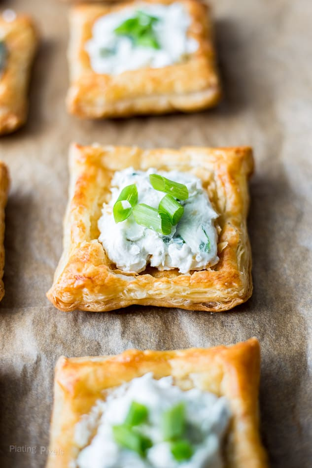 Creamy Blue Cheese Puff Pastry Squares topped with green onions