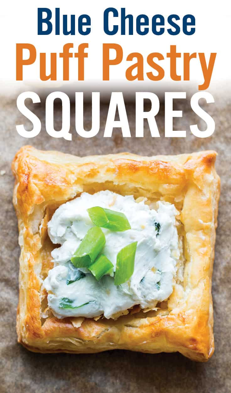 Easy party or holiday appetizer with Creamy Blue Cheese Puff Pastry Squares. Cream cheese, blue cheese, green onion and parsley create a unique, cheesy topping over flaky puff pastry crust. | Party Appetizers | #bluecheese #cheeseappetizer