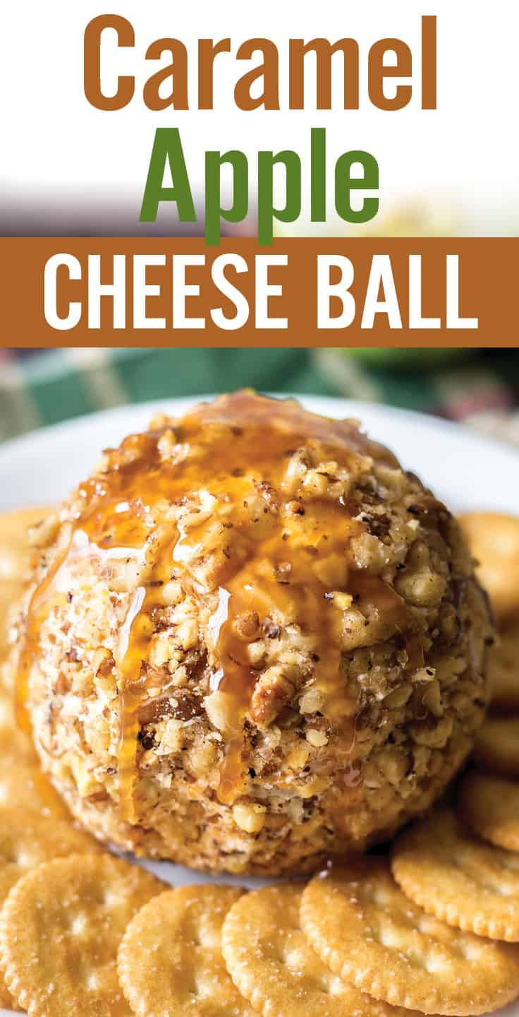 Caramel apple cheese ball makes a quick and easy holiday appetizer. Simply mix cream cheese, sharp cheddar, green apple and caramel; serve with crackers. #platingpixels #appetizers #cheeseball #dip