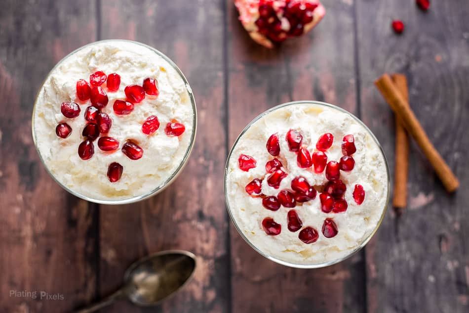 An overhead shot of two glasses of Homemade Eggnog Pudding