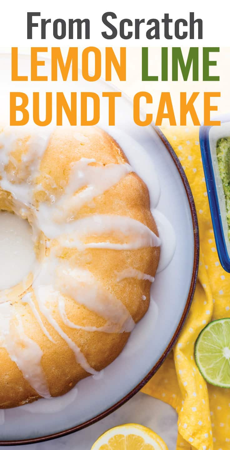 If you\'re looking for homemade cake recipes from scratch and love lemons, then look no further than this Lemon Bundt Cake. It\'s a moist, fluffy cake with sweet, tangy flavors that requires no special baking or decorating skills. With less than 15 minutes of hands-on time and common pantry ingredients, it\'s sure to be a family favorite. #lemoncake #bundtcake #cake #easycake