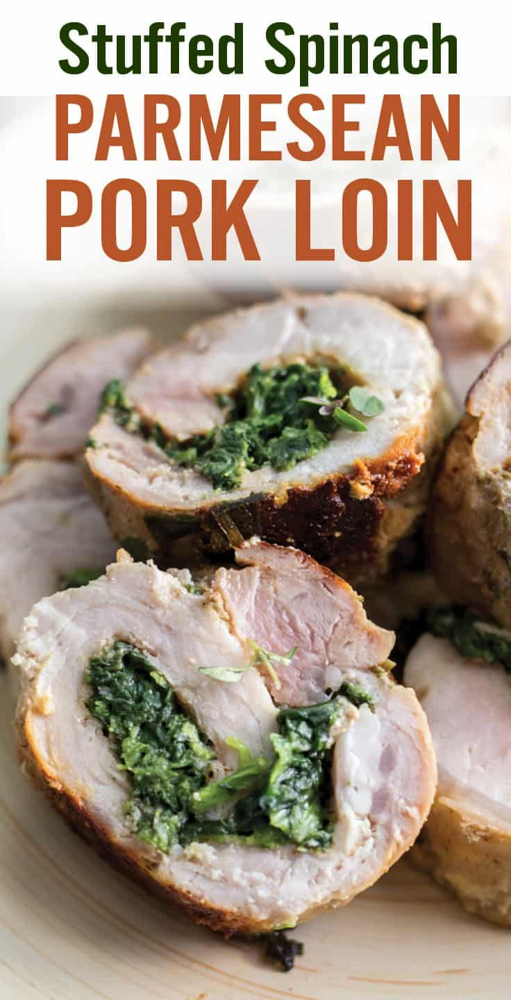 Skillet Spinach Parmesan Stuffed Pork Loin makes an easy weeknight dinner in 30 minutes. Tender pork loin filled with spinach, ricotta garlic and herbs. #porkloin #stuffedpork