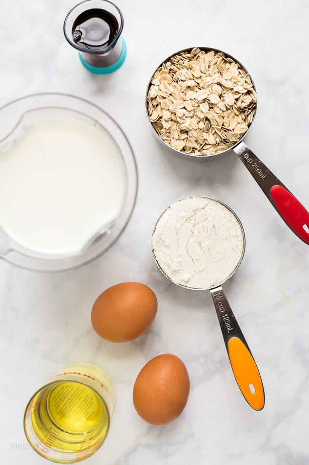 An overhead shot of ingredients prepped to make Banana Oatmeal Pancakes