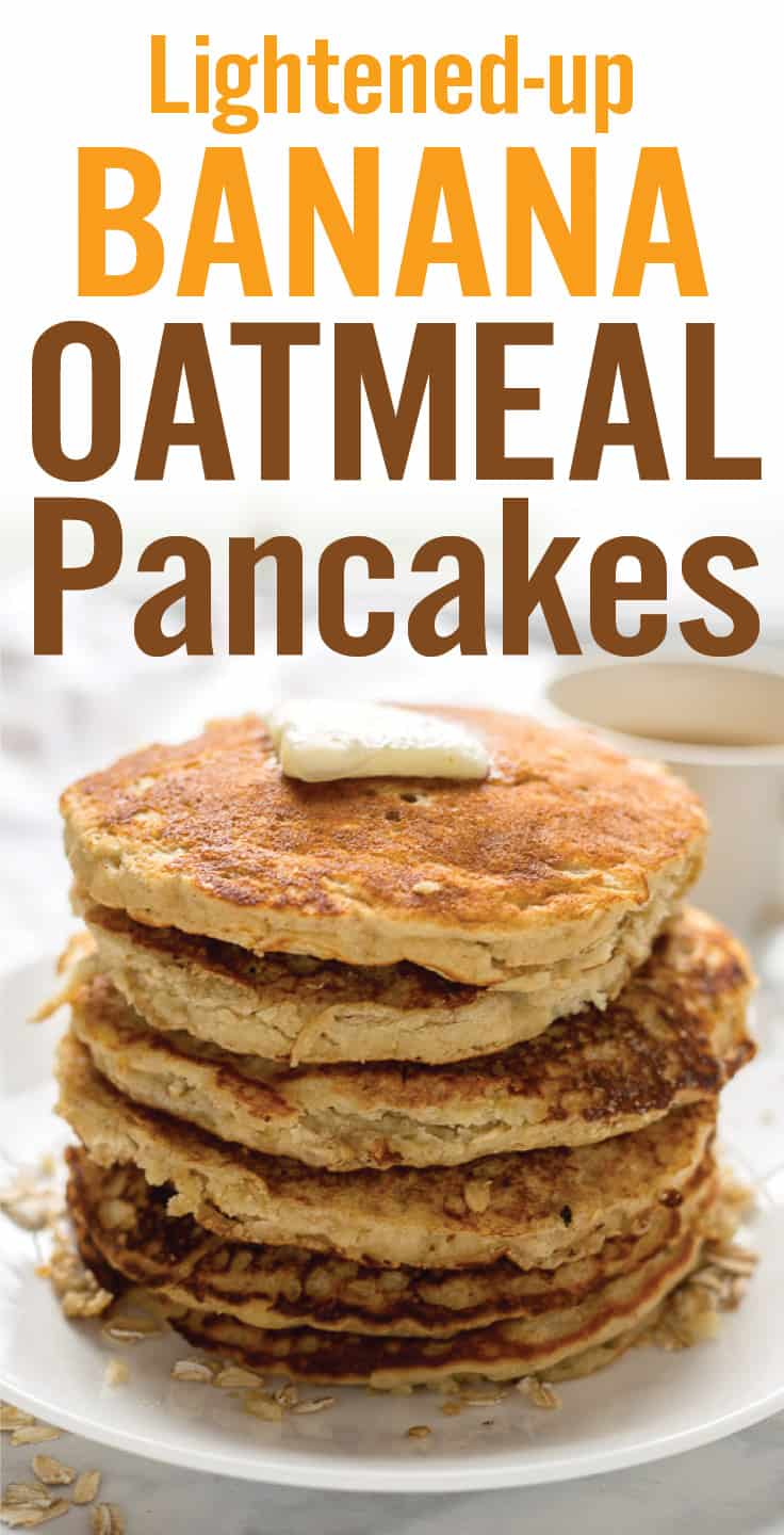 Gluten-free Healthy Banana Oatmeal Pancakes make a quick and easy breakfast. Made with wholesome ingredients including oats, almond flour, olive oil, milk, banana, honey, and egg. #bananapancakes #glutenfreepancakes