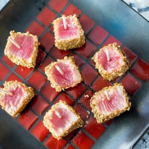 Sesame Seared Ahi Tuna Bites recipe - www.platingpixels.com