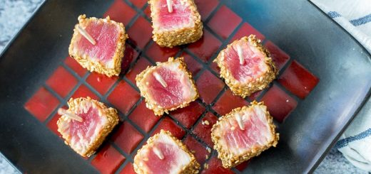 Sesame Seared Ahi Tuna Bites recipe - www.platingpixels.com