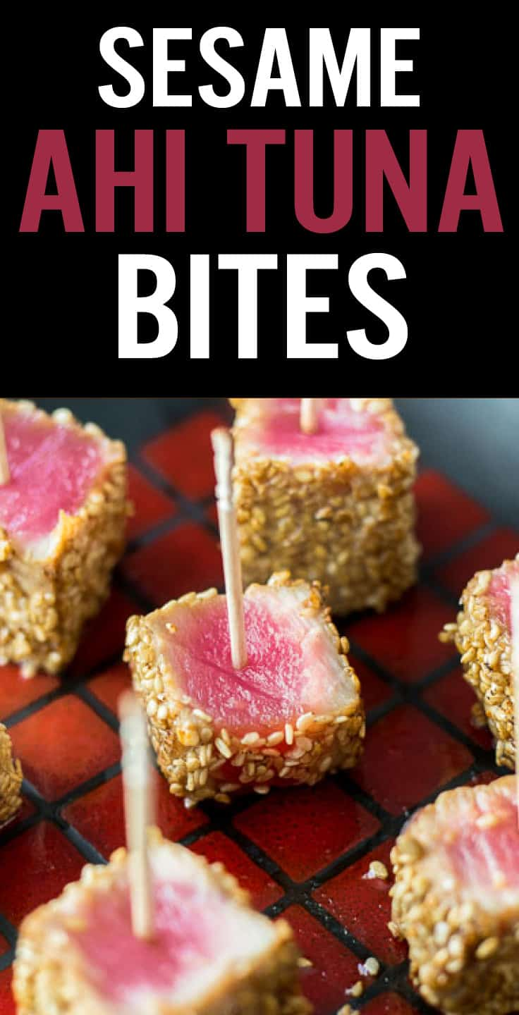 Sesame Seared Ahi Tuna Bites are a fresh and healthy appetizer. Marinated in soy sauce, sesame oil and ginger, coated in sesame seeds and seared. With a tender rare center, these will be a hit at your next gathering. #platingpixels #tunabites #ahituna #sushi #rawsushi
