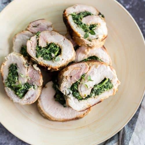 Spinach Parmesan Stuffed Pork Loin recipe - www.platingpixels.com