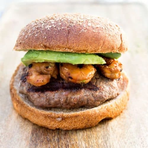 Grilled Teriyaki Surf and Turf Burgers recipe - www.platingpixels.com