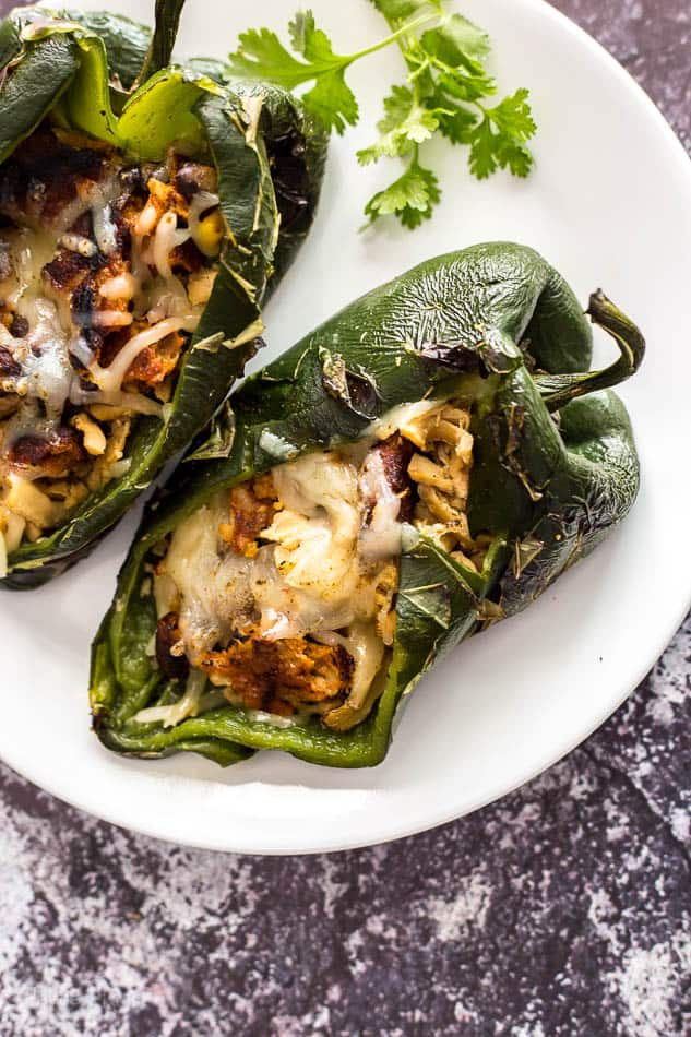 Grilled Vegan Pork Stuffed Poblano Peppers recipe - www.platingpixels.com