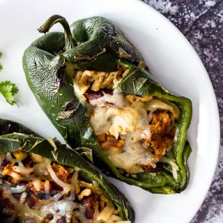 Grilled Vegan Pork Stuffed Poblano Peppers