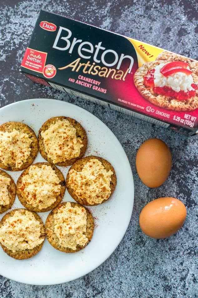Deviled Egg Cracker Bites recipe - www.platingpixels.com