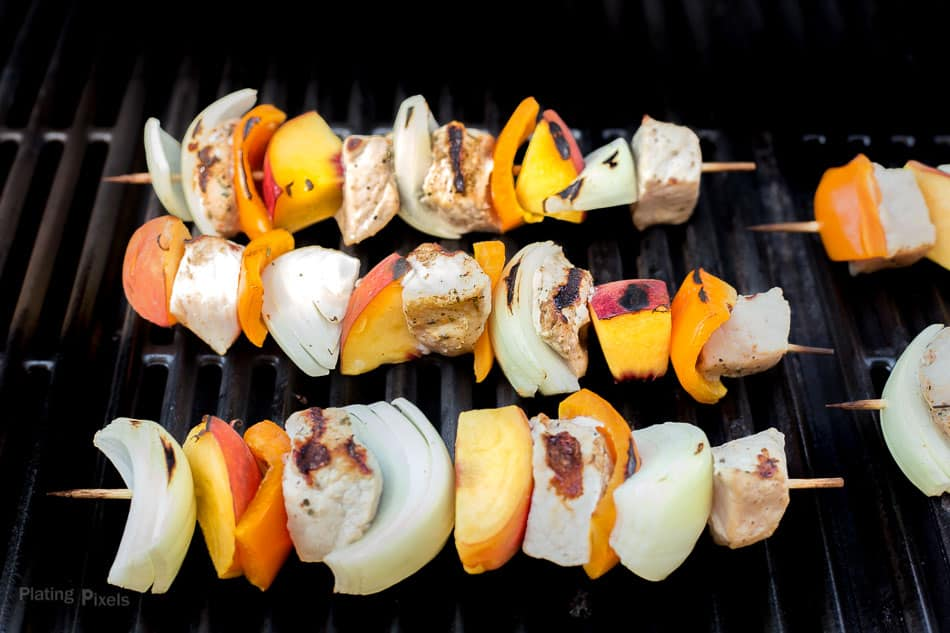 Grilled Peach and Pork Kabobs recipe - www.platingpixels.com