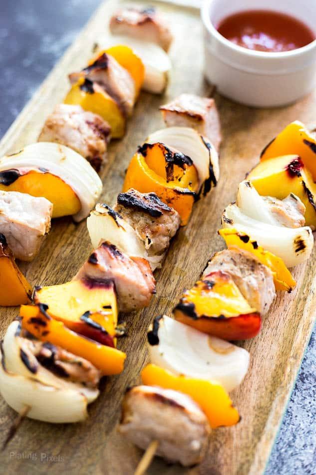 Grilled Peach and Pork Kabobs recipe - www.platingpixels.com