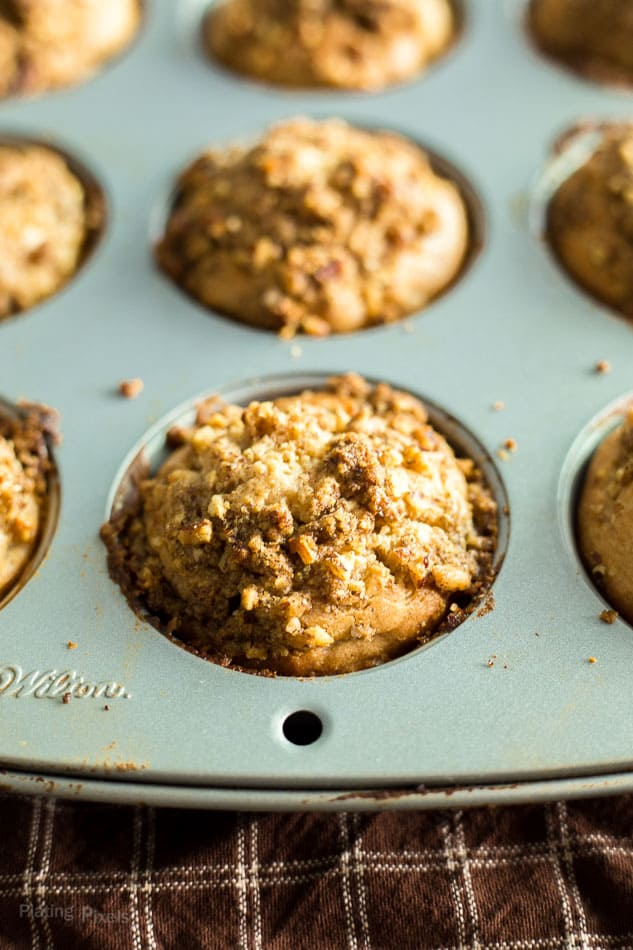 Just baked Apple Streusel Muffins in a muffin pan