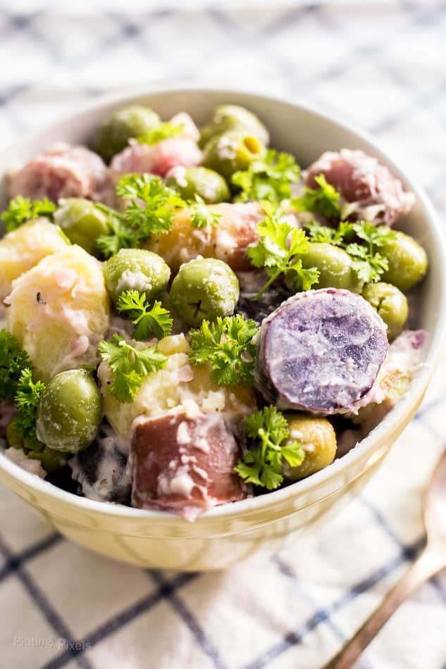 Fingerling Potato Salad with Green Olives prepared in a bowl