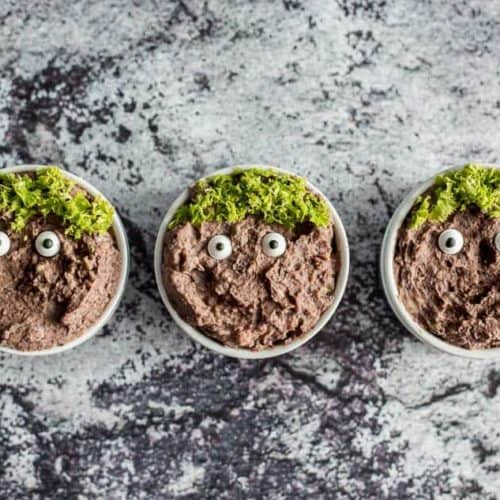 Black Bean Hummus Monster Halloween Appetizers