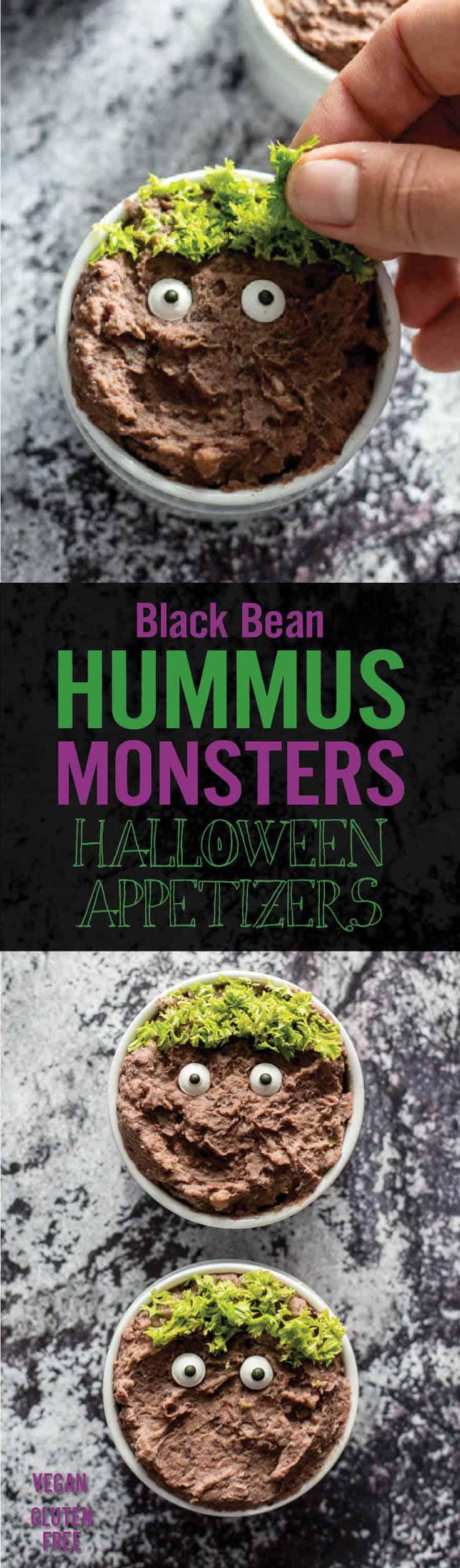 Black Bean Hummus Monster Halloween Appetizers