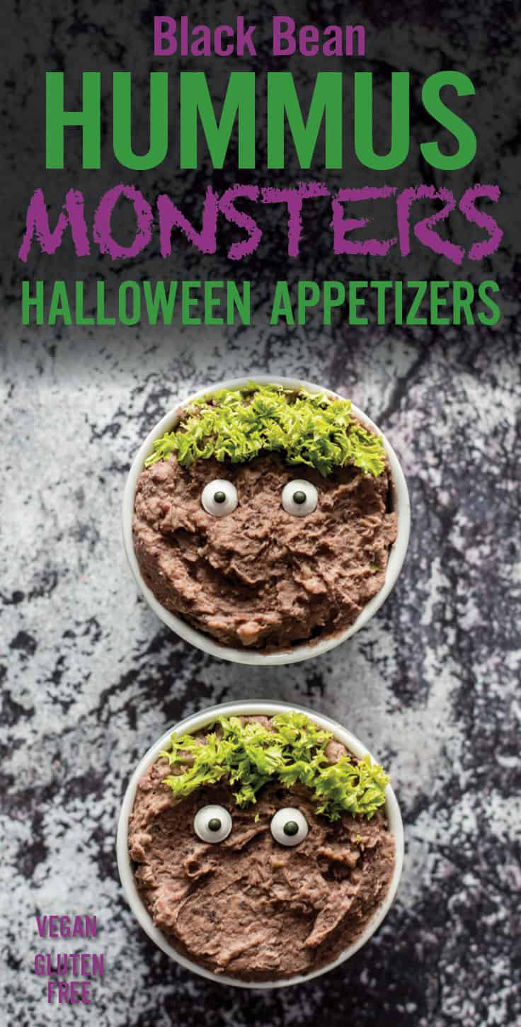 Black Bean Hummus Monster Halloween Appetizers recipe | platingpixels.com